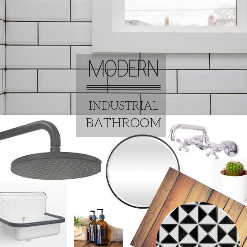 modern industrial bathroom design board