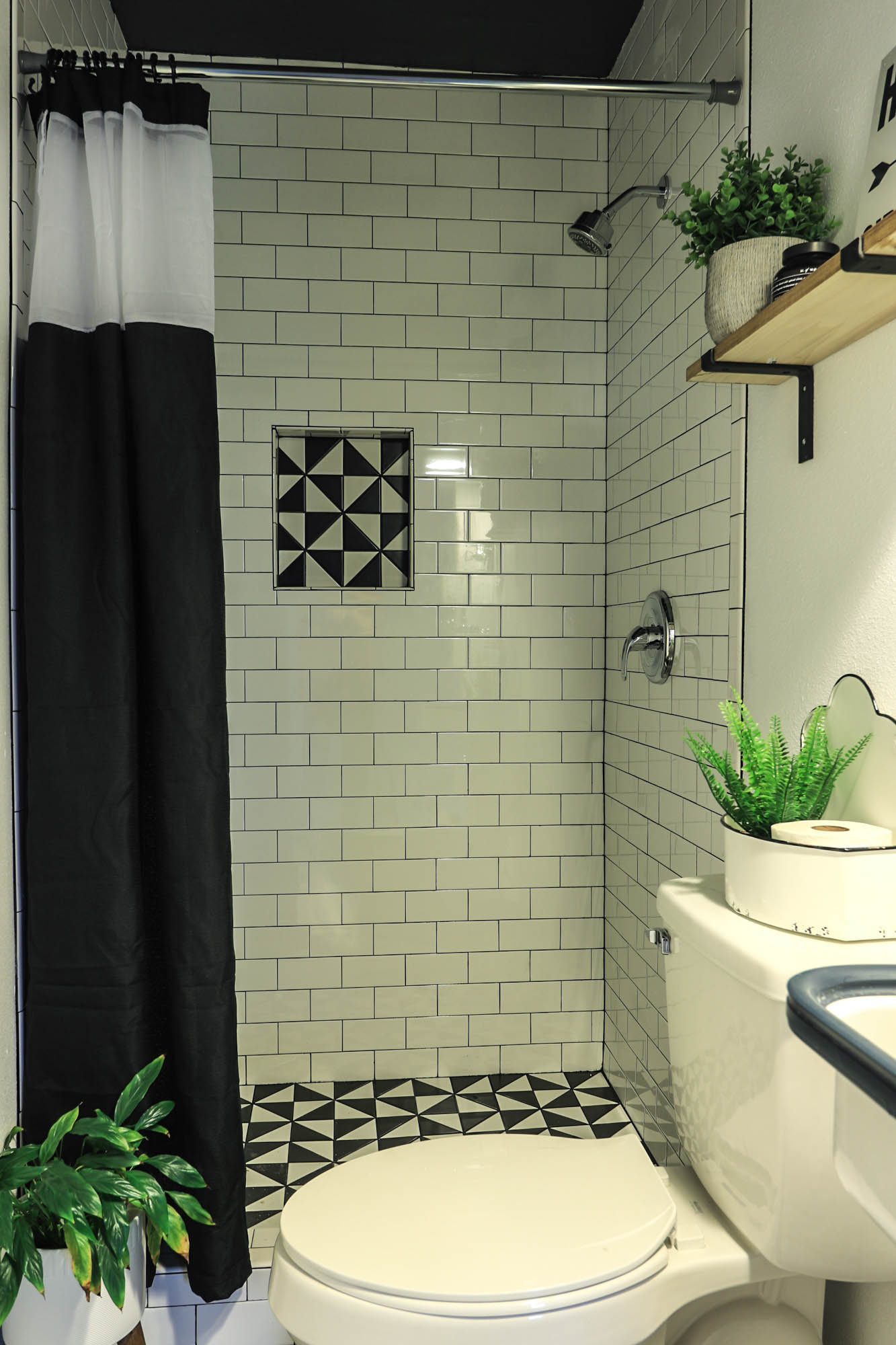modern subway tile bathroom
