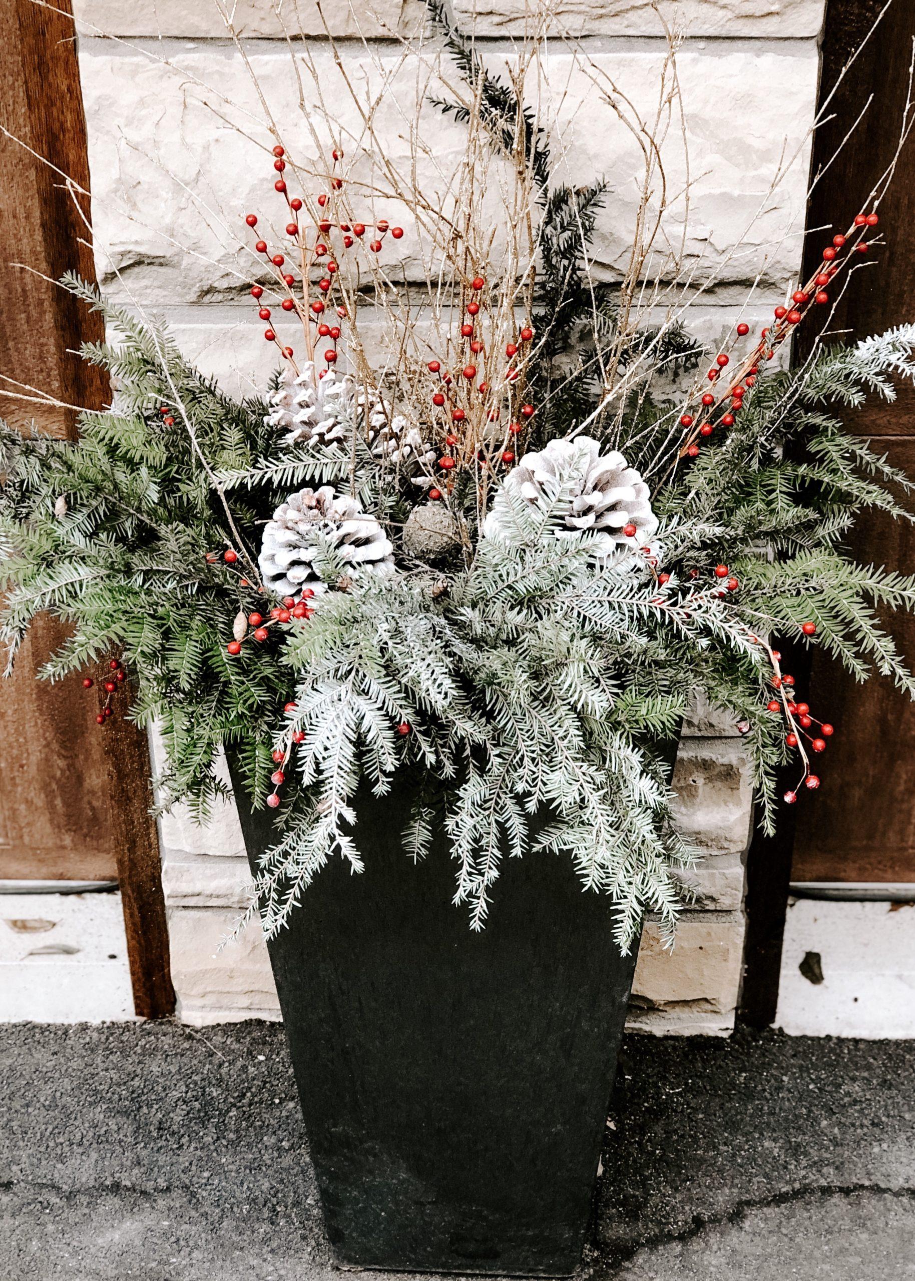 winter seasonal planter outside home