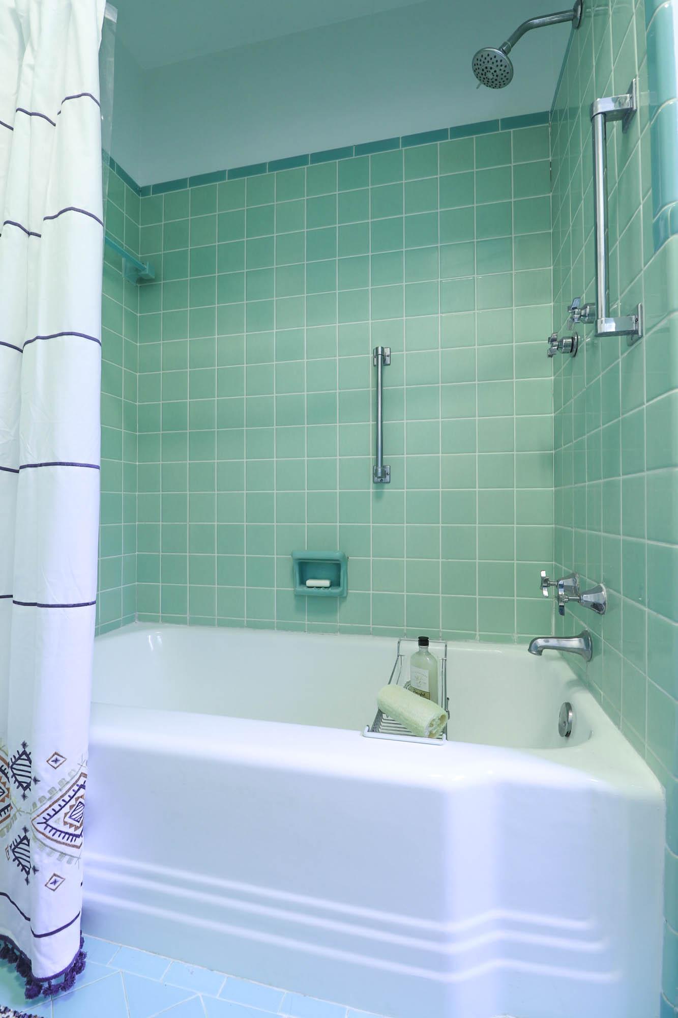 mint green vintage tile shower